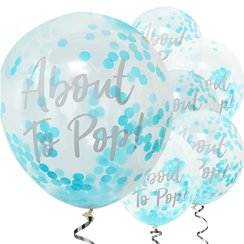 "Oh Baby - ""About to Pop!"" Globos de Látex Confeti Azul - Látex 30cm"