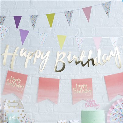 "Banderín Pick & Mix con letras doradas ""Happy Birthday"" (Feliz Cumpleaños) - 1.5m"