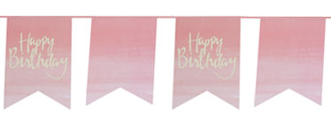Banderín con banderas rosas de Happy Birthday Pick & Mix-3m