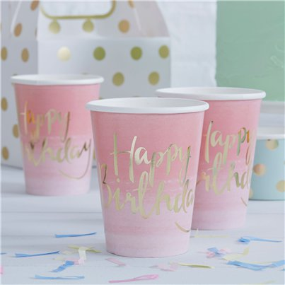 Vasos Ombre Happy Birthday Pick & Mix- Vasos de papel para fiesta 255ml