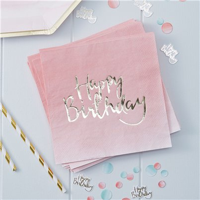 Servilletas Happy Birthday Ombre de Pick & Mix-3 capas de papel