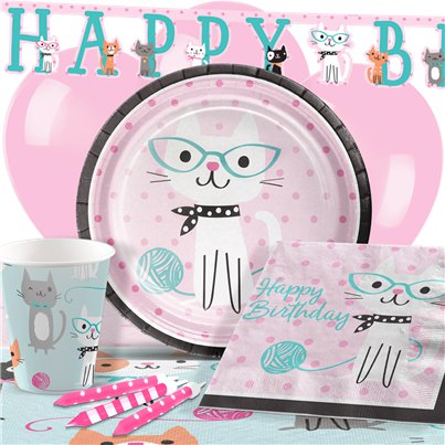 Pack de fiesta Purr-Fect Happy Birthday-Pack deluxe para 8