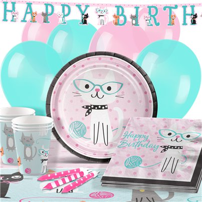 Pack de fiesta Purr-Fect Happy Birthday-Pack deluxe para 16