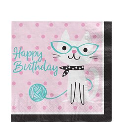 Servilletas Purr-fect Happy Birthday - 33cm