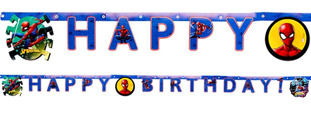 Banner Cumpleaños Spiderman Team Up