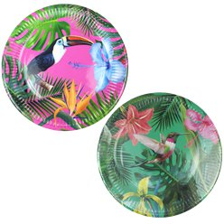 Platos de Papel Brillante Fiesta Tropical 23cm