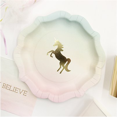 Platos We Heart Unicorn-Platos de papel para fiesta de 18cm