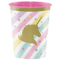 Vaso decorado de plástico Unicorn Sparkle-454ml