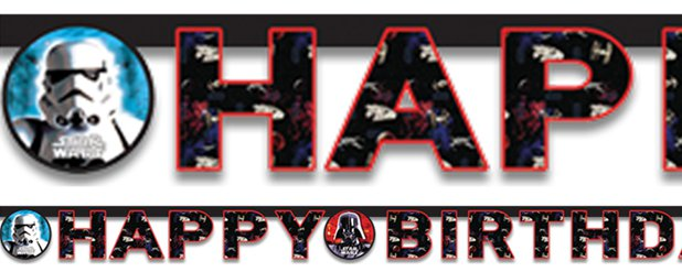 Banner de Star Wars con las letras 'Happy Birthday' -1,6m