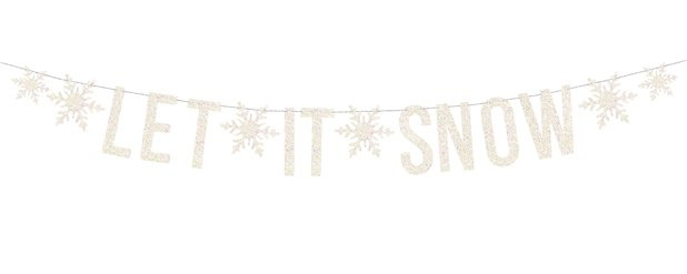 Banner blanco holográfico Let It Snow - 1.7m
